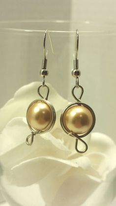 Wire wrapped, gold pearl earrings/dangle earrings/drop earrings