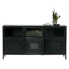 This industrial style sideboard is made of metal, which is lacquered in a black color. A great addition to your living space offering plenty of storage, with open storage at the top to display your favourite pieces and closed storage at the bottom to hid Black Metal, Home Decor, Metal Sideboard, Small Furniture, Furniture Delivery, Industrial Metal Sideboard, Metal, Industrial Style Sideboard, Open Storage