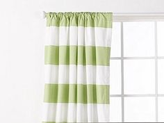 SALE one pair of white and green stripe curtains by EllaBellaFabric on Etsy