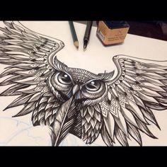 Coruja quase finalizada! Arte com nanquim demora, mas estou evoluindo!!!  #owl #artwork #artist #loveowl #coruja #tattoo #tattooidea #nanquim #illustration #ilustração #drawing #desenho #follow #followme #part3 #ink #chinesichetusche #instatattoo...
