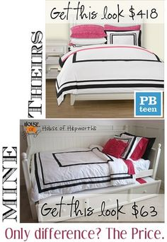 PotteryBarnTeen bedding knock-off.  Saved a whopping 355 bucks!  Check out House of Hepworths for all the deets!