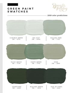 Predicted Paint Colors for 2019 I&;ve looked through the swatch books and have compiled the 2019 pred&; Predicted Paint Colors for 2019 I&;ve looked through the swatch books and have compiled the 2019 pred&; art […] for home living room color trends Green Paint Colors, Exterior Paint Colors, Exterior House Colors, Wall Colors, Sage Green Paint, Sage Green Walls, Color Palette Green, Olive Green Paints, Nursery Paint Colors