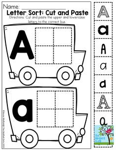 Cut and Paste: Letter recognition in different fonts preschool learning activities Preschool Printables, Preschool Kindergarten, Preschool Worksheets, Preschool Learning, Kindergarten Classroom, Early Learning, Preschool Activities, Letter Worksheets, Handwriting Worksheets