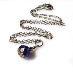 Sapphire Blue Necklace Crystal Necklace Victorian Inspired Antique Brass Wedding Jewelry