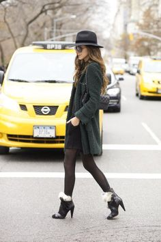 Jacket: Zara | Dress: Blessed Are The Meek | Shoes: Isabel Marant | Bag: Chanel | Hat: Topshop, similar | Sunglasses: Ray-Ban | Tights: Hue