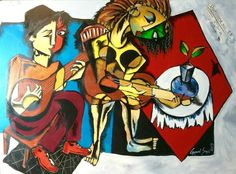 """""""The Troubadors"""" Mixed media on canvas Gopaal Seyn's : """" #Kaleidoscope : Life in #Color"""" Once Again Solo Art Show In #Kolkata #India from November 21st to December 10th 2016, Organised by Emami Chisel Art Gallery. You All Are Cordially Invited. http://www.redbluearts.com/artist/ #Sculpture #ArtGallery #IndianArt, #Exhibition #ArtShow, #Art,  #ArtClass #Workshop"""