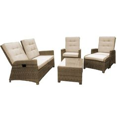 This 4 seat reclining set has been hand woven with the Winchester weave and can be left outside all year round. Comfortable and durable Maze Rattan have created the ideal suite for relaxing.