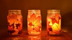 For a beautiful autumn glow, paste leaves on the outside of the jar, and place a small candle or light inside to see the colorful lights fill the room at night. Description from everydayalike.blogspot.com. I searched for this on bing.com/images