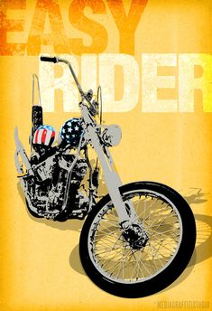 Vintage motorcycle art - Movie poster sized Canvas Art Print of Easy Rider movie chopper size 24x36.. $150.00, via Etsy.