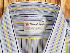 Turnbull   Asser Blue Yellow Stripe Mens Dress Shirt French Cuff 17.5 44 cm   TurnbullAsser TurnbullandAsser Blue Yellow Stripe  Mens  DressShirt   FrenchCuff ... 8d9cfb813