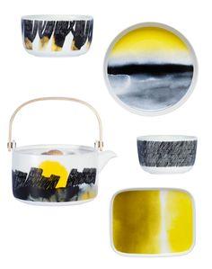 Podzimní akvarelová kolekce nádobí od Marimekko SÄÄPÄIVÄKIRJA na motivy počasí ve žluté barvě