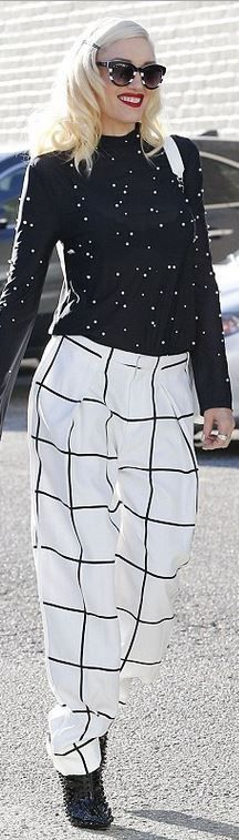 Who made Gwen Stefani's white check print pants, stripe sunglasses, handbag, and…