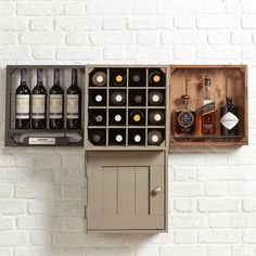 Wine wall shelving | Grain001 Wall mounted drinks cabinet. Flexible modular rustic crates, displaying wine and drinks from Grain & gray home decor shelving