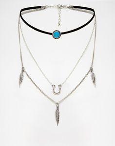 Asos Multirow Lucky Choker Necklace
