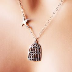 Birdcage Necklace Sterling Silver Bird & Cage by IvoryCove
