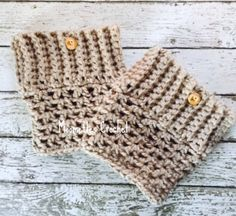 Chunky Handmade Boot Cuffs Taupe Boot Socks by MoomettesCrochet