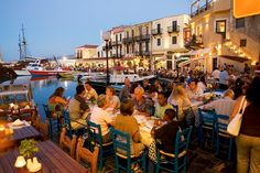 People Eating Out at the Harbour in Rethymnon Crete Greece at Night Rethymnon Crete, Greek Islands To Visit, Inclusive Holidays, Crete Island, Crete Greece, Big Island, Travel Inspiration, Travel Ideas, Life Images