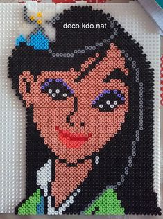 Mulan portrait hama perler beads by deco.kdo.nat - Pattern: https://www.pinterest.com/pin/374291419004071149/