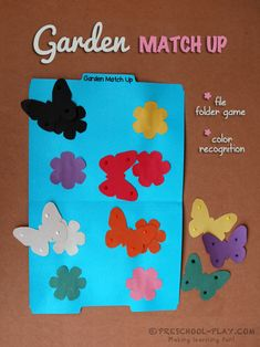 Garden Match Up File Folder Game. This eye-catching file folder game provides children with the opportunity to brush up on their color recognition skills. Preschool Color Activities, Spring Activities, Activity Games, Math Games, Preschool Learning, File Folder Activities, File Folder Games, File Folders, Phonemic Awareness Kindergarten