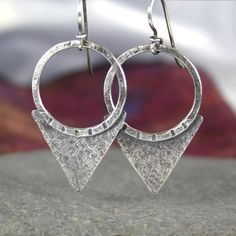 Large silver tribal earrings by Deborah Jones jewellery