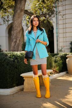 Go bold or go home. Annabelle of Viva Luxury isn't afraid to stand out in her rain boots. #Spring #Fashion