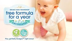 Join Enfamil Family Beginnings for up to $400 in gifts, free Enfamil samples (get belly badges) and a chance to win free formula for a year!*