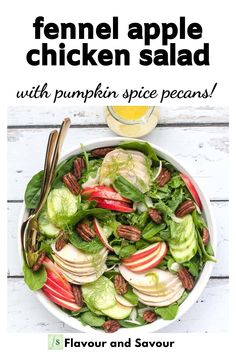 Savour the flavours of fall with this Fennel Apple Chicken Salad. Made with pre-cooked or rotisserie chicken,  baby spinach, mixed greens, shaved fennel, apple slices, cucumber, and pumpkin spice pecans, it makes a healthy salad for two for lunch or a light dinner. #fallsalad #apple #pecans #fennel #spinach