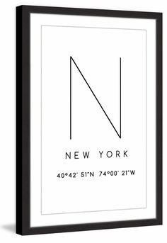 New York Coordinates Framed Textual Art