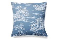 """Parc Monceau 19x19 Cotton Pillow, Blue on OKL ($79 v. $120 retail); also 12x16 ($59 v. $100 retail) Made of: cover, cotton; insert, feather/down 19"""" x 19"""" Color: blue Machine-wash; tumble-dry on delicate cycle. """"Classic toile gives French flair to this blue and white pillow, filled with a cozy blend of feather and down. With its collection of French country curtains and linens, from elegant toiles to exuberant florals and stripes, Maison du Linge...will add...joie de vivre to your home."""""""