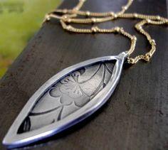 Julie Ashton Jewellery. Framed Marquise Necklace  Fine silver. Textured pod shape set into fine silver frame.