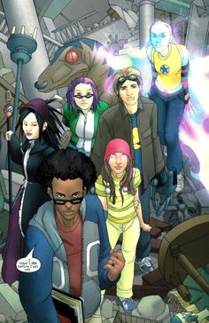 """Who are the Runaways? Children of supervillains run away from their heritage to become heroes. Members include """"Arsenic,"""" a time-traveler linked with a dinosaur named """"Old Lace"""" (on those grounds, call Chase Stein """"Neo"""" - on second thought, goofy names weren't an excellent idea)."""