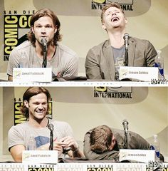 J2 being adorables at SDCC 2013 #Supernatural Comic Con '13 #Jensen #Jared  <3 <3