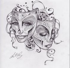 comedy and tragedy sugar skulls | Masks Tattoos on Theater Masks By Pepper Blake On Deviantart