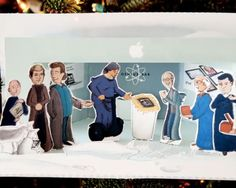 DIY papercraft Apple Store Genius Bar Wise Guys, Steve Jobs, Wozniak