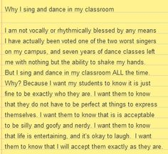 Why I sing and dance in my classroom #backtoschool