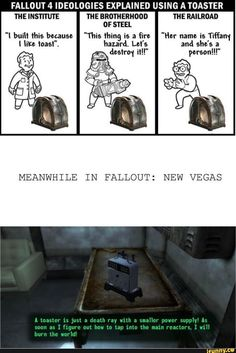 And this, ladies and gents, is why you should never give a toaster anything besides toast. Especially a will to live and a need to destroy. << that toaster is amazing. New Vegas is my favorite Fallout game. Video Game Logic, Video Games Funny, Funny Games, Funny Videos, Fallout Funny, Fallout Fan Art, Fallout Comics, Gamer Humor, Gaming Memes