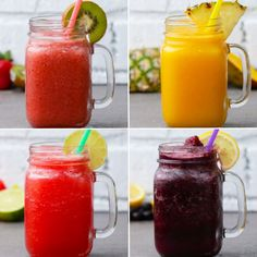 Featuring Blueberry-lemon Slushie, Watermelon-lime Slushie, Strawberry-kiwi Slushie and Mango-Pineapple Slushie Strawberry Kiwi Smoothie, Fruit Milkshake, Fruit Slush, Milkshakes, Fruit Juice, Easy Smoothies, Fruit Smoothies, Fruit Drinks, Cold Drinks