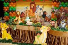 Super Ideas para fiestas de cumpleaños, celebraciones, bodas, bautizos, comuniones, eventos: 60 ideas de decoración para Fiesta cumpleaños del Rey León Lion King Theme, Lion King Party, Lion King Birthday, Baby 1st Birthday, 3rd Birthday Parties, Baby Shower Themes, Baby Shower Decorations, Safari Theme Party, Lion King Baby Shower