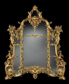 Thomas Chippendale - A Giltwood Mirror of Tamanho substanciais na maneira rococó Chippendale