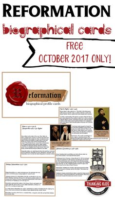 Reformation History for Kids: 13 Biographical Cards Teach Reformation History for Kids this Reformation Day with 13 biographical cards that focus on the story of Martin Luther and the Reformation. Reformation History, Reformation Day, Homeschool High School, Homeschool Curriculum, Homeschool Kindergarten, Homeschooling, History For Kids, Six Month, Christian Parenting