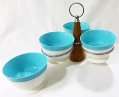 Mid century raffiaware thermo temp melmac footed dessert sherbet bowls w/stand