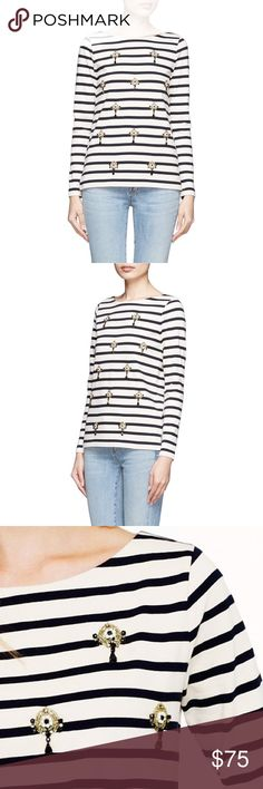 J.Crew Jeweled Stripe Top PRODUCT DETAILS Sometimes we like to wear our jewelry on our tees instead of on our ears. These dangly clusters were inspired by a pair of vintage costume earrings from our designer's jewelry box.  In good preowned condition J Crew jeweled striped tee shirt top.  Size small.  No trades.  {category3} J. Crew Tops