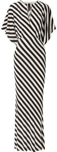 Norma Kamali - Striped Stretch-jersey Maxi Dress - Black Today was a black and white kind of day! Casual Summer Dresses, Trendy Dresses, Sexy Dresses, Short Sleeve Dresses, Flattering Dresses, Dress Summer, Ever Pretty, Norma Kamali, Striped Maxi Dresses