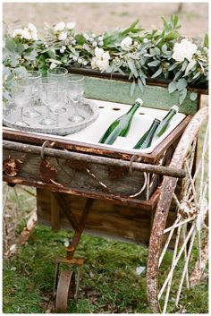 Vintage wooden beverage cart with florals by Stems & Styles, image by White Rabbit Studios. Outdoor Parties, Outdoor Entertaining, Fresco, Hanging Centerpiece, Rusty Garden, Vintage Sideboard, Rustic Wedding Inspiration, Outdoor Living, Outdoor Decor