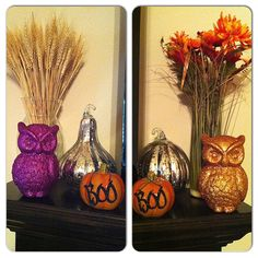 Fall decor, on both ends of the mantle.
