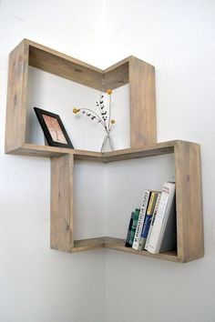 diy bookshelf Ideas Diy Bookshelf Wall Creative Shelving Ideas For 2019 Diy Bookshelf Design, Diy Bookshelf Wall, Wooden Shelf Design, Hanging Wood Shelves, Creative Bookshelves, Small Bookshelf, Corner Bookshelves, Wood Shelf, Bookshelf Ideas