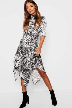 Zebra Print Hanky Hem Midi Dress Zebra Print, Boohoo, High Low, Shopping, Collection, Dresses, Fashion, Vestidos, Moda