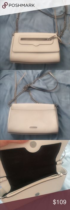Rebecca Minkoff Avery white chain crossbody White saffiano leather crossbody with chain. Inner zip compartment and magnetic closure. I am also selling this bag in black and two similar pink ones. In excellent condition at the front. Some discoloeations on the interior and very very subtle wear on the back (all shown in pics). No trades. 9 in x 5.5 x 2 Rebecca Minkoff Bags Crossbody Bags