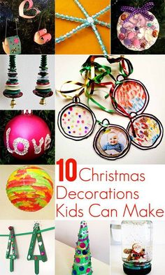 Simple ideas for Christmas decorations that kids can do.