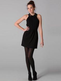 Sheath / Column Sleeveless Short / Mini  Satin Black Little Black Dresses